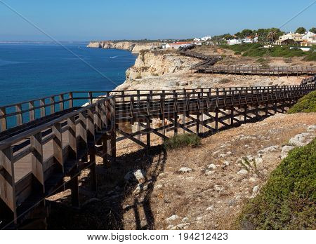 sidewalk on cliff  in Algarve region, Portugal