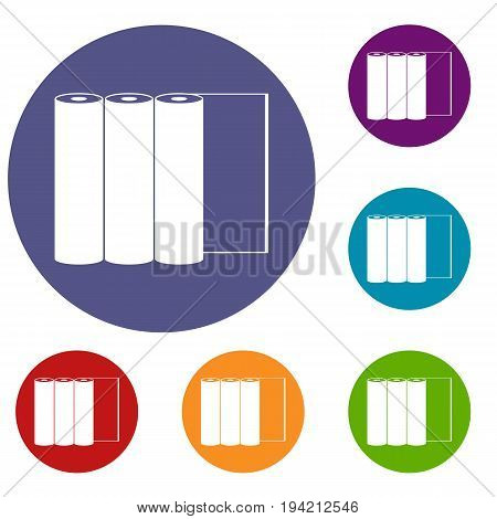 Rolls of paper icons set in flat circle reb, blue and green color for web
