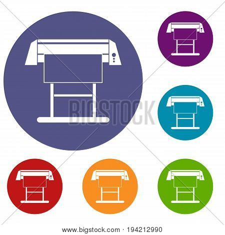 Large format inkjet printer icons set in flat circle reb, blue and green color for web