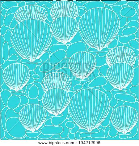 Background pattern sea bottom seashells and stones. Mask