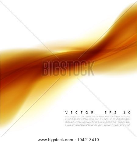 Vector illustration of an abstract orange wavy background. A smooth layered yellow-orange wave, line. Design element