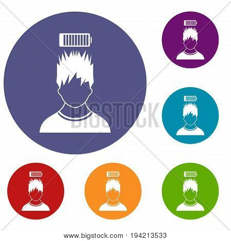Man with low battery over head icons set in flat circle reb, blue and green color for web