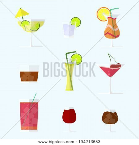 Collection of alcohol coctails with ice and fruits