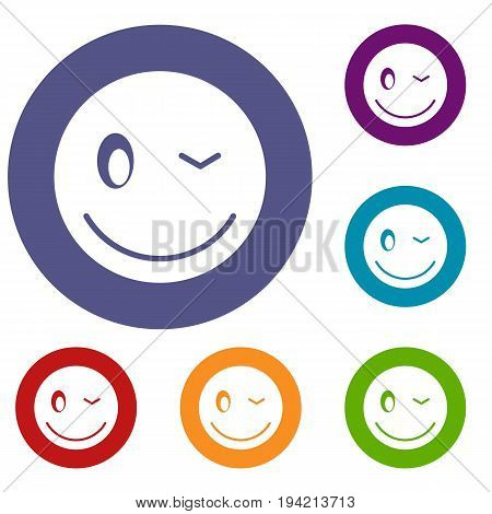 Eyewink emoticons set in flat circle reb, blue and green color for web