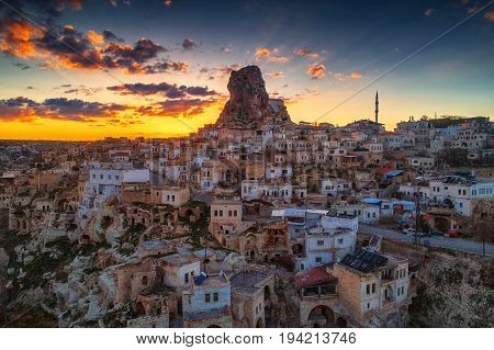 Aerial view of Uchisar castle in the sunset. Cappadocia. Nevsehir Province. Turkey.