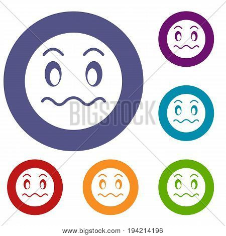 Suspicious emoticons set in flat circle reb, blue and green color for web