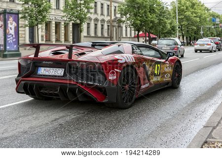 Riga, LV - JULY 2, 2017: Gumball 3000 Race Car 47