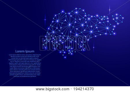 Singapore map of polygonal mosaic lines network rays and space stars of vector illustration.
