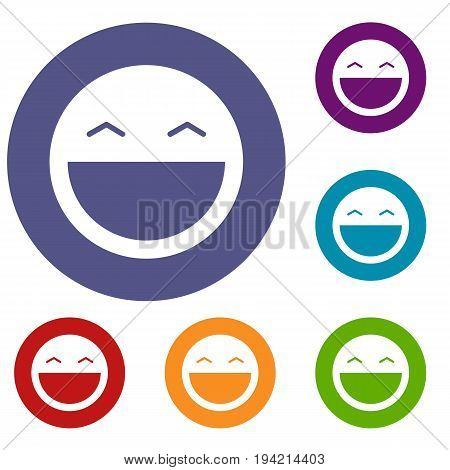 Laughing emoticons set in flat circle reb, blue and green color for web