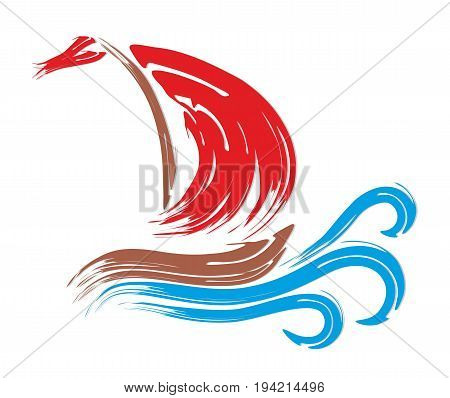 A sailing vessel logo with a red sail in the sea.
