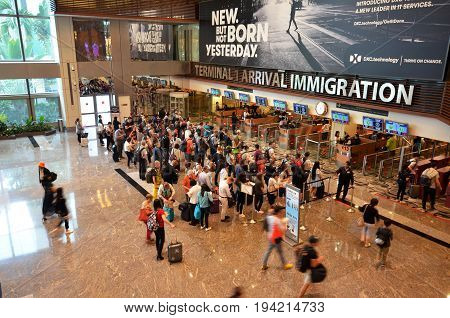 Immigration Control At Changi International Airport