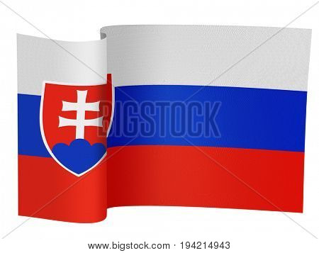 illustration of the Slovakian flag on a white background