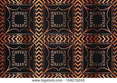 abstract background decoration decorative element geometric shapes of squares and font monograph in gold