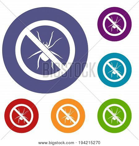 No spider sign icons set in flat circle reb, blue and green color for web