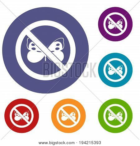 No butterfly sign icons set in flat circle reb, blue and green color for web