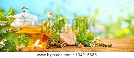 Black tea with mint and chamomiles on wooden table