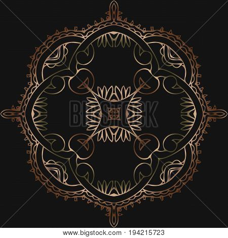 abstract tracery victorian pattern retro round shape on a black background antique rococo style decorative design