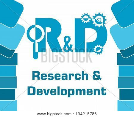 Research and development concept image with text and related symbol.