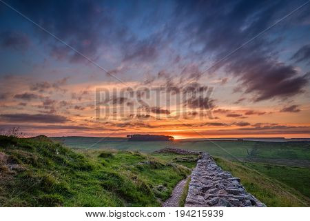 Twilight at Hadrian's Wall, which is a World Heritage Site in the beautiful Northumberland National Park. Popular with walkers along the Hadrian's Wall Path and Pennine Way