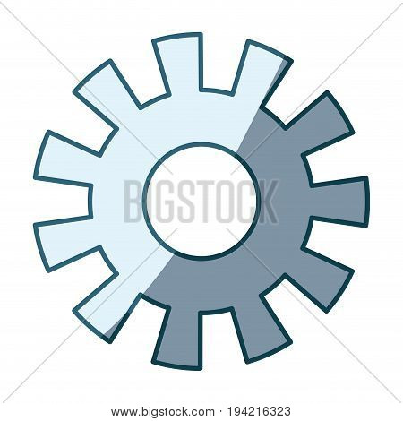 blue shading silhouette of pinion model one vector illustration