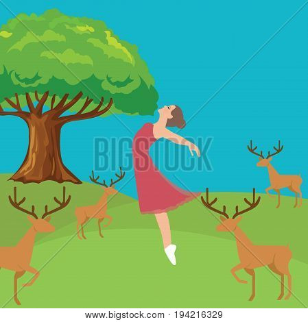 woman girl fresh jumping freedom in forest fresh air wild life deer vector