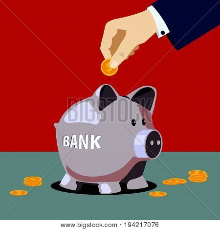 Hand is putting money into piggy bank. Vector illustration in flat design
