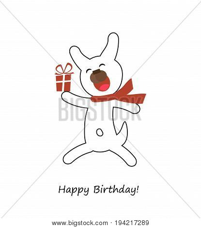 Happy Birthday card with cute dog and red gift. Vector illustration