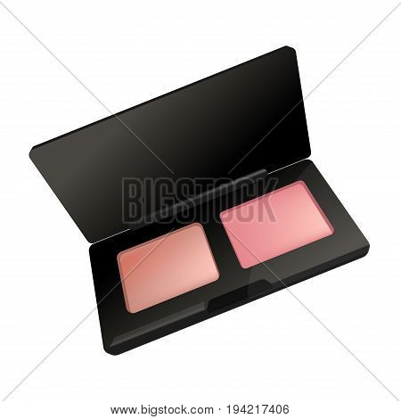 Makeup cosmetics rouge blusher in box. Vector isolated 3D realistic icon for woman make-up cosmetic product for skincare luxury fashion and beauty accessory