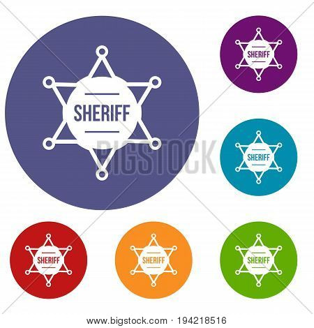 Sheriff badge icons set in flat circle reb, blue and green color for web