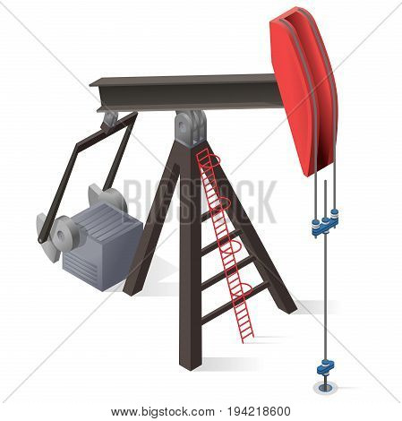 Oil extraction pump. Oil well industry production, oilfield equipment. Mining equipment typical of Texas and USA. Industrial self-propelled machine. Isolated master vector illustration.