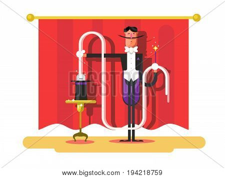 Conjurer in a circus. Magic show, illusionist with trick, entertainment and performance, vector illustration