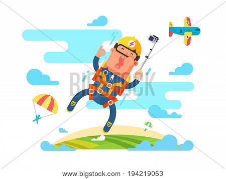 Skydiving sport flat. Jump with parachute design, parachuting extreme, skydiver man parachutist, vector illustration