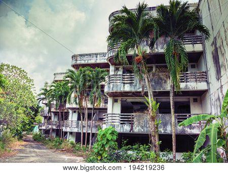 Abandoned hotel  after the 2004 tsunami. Thailand. Phuket