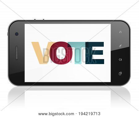 Politics concept: Smartphone with Painted multicolor text Vote on display, 3D rendering