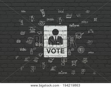 Political concept: Painted white Ballot icon on Black Brick wall background with  Hand Drawn Politics Icons
