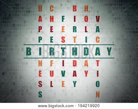 Holiday concept: Painted green word Birthday in solving Crossword Puzzle on Digital Data Paper background