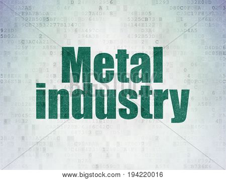 Manufacuring concept: Painted green word Metal Industry on Digital Data Paper background
