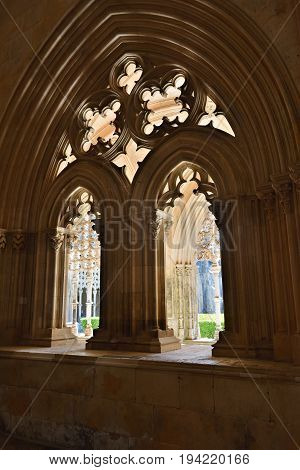 Portugal Batalha - June 4 2017: Monastery of Santa Maria da Vitoria and better known to us all as da Batalha Monastery one of the most beautiful works of Portuguese and European architecture as well as one of the most important monuments of the Portuguese