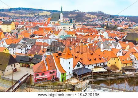 Cesky Krumlov, Czech Republic - February 26, 2017: Cesky Krumlov, historic center aerial view, Czech Republic