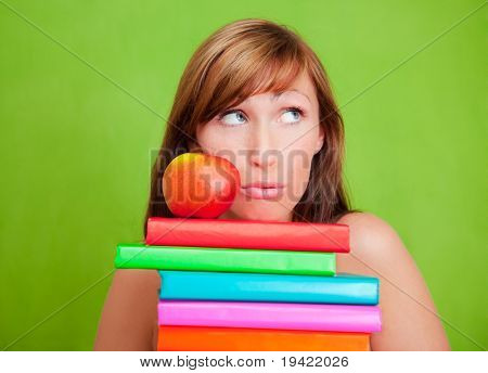 Smart knowledge girl with boos as concept of career education