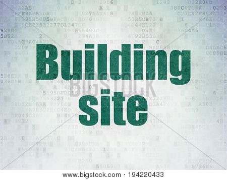 Building construction concept: Painted green word Building Site on Digital Data Paper background