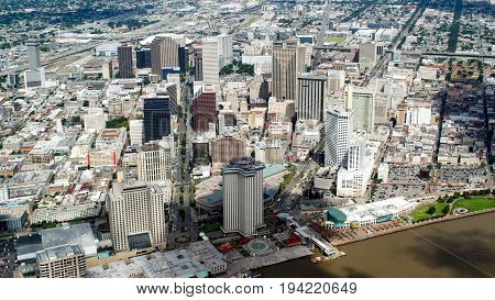 Aerial view of Downtown New Orleans Louisiana