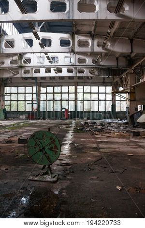Inside the old ruined and abandoned industrial plant