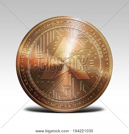 copper ardor coin isolated on white background 3d rendering illustration