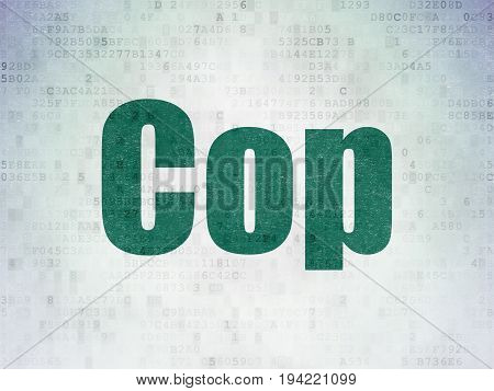 Law concept: Painted green word Cop on Digital Data Paper background