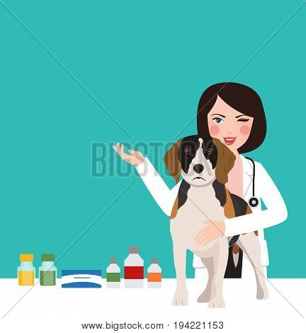 veterinarian animal dog doctor in clinic woman young professional in clinic taking care vector
