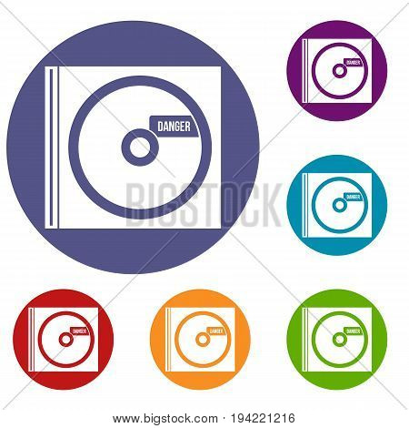 CD with danger lettering icons set in flat circle reb, blue and green color for web