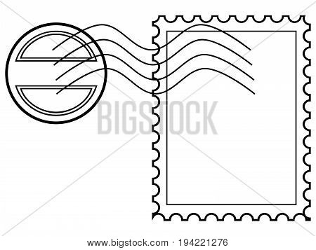 Blank post stamp with rubber stamp for your project