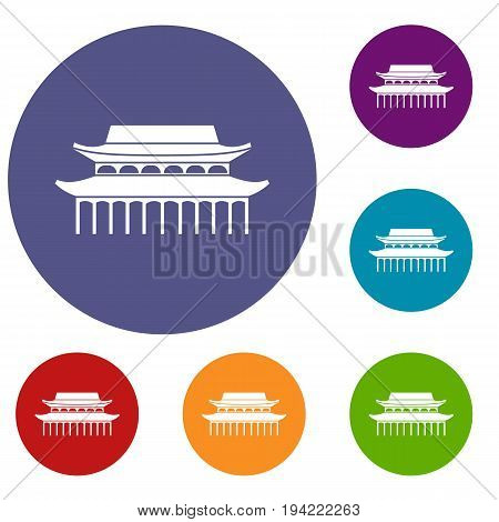 Buddha Toothe Relic Temple in Singapore icons set in flat circle reb, blue and green color for web