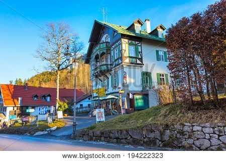 Fussen, Germany - December 27, 2016: Beautiful painted of traditional bavarian house near Neuschwanstein and german alps in Bavaria